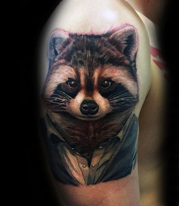 Realsitic Raccoon With Collared Shirt Mens Arm Tattoos