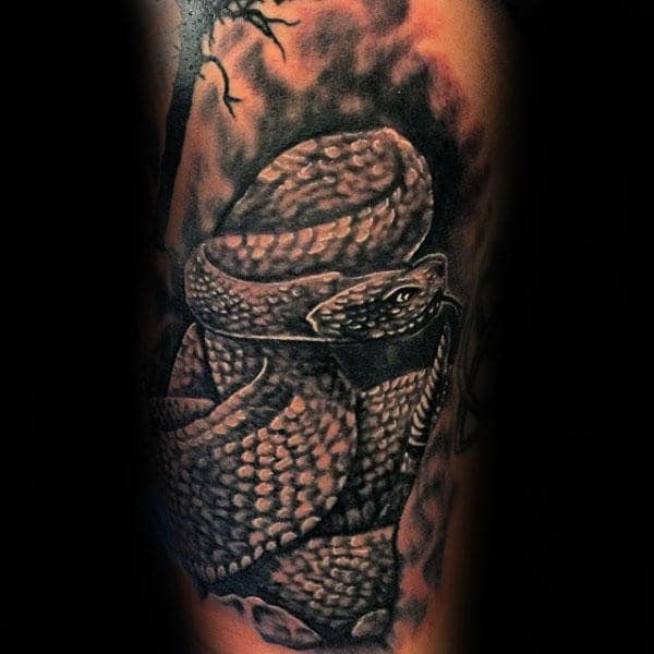 Realsitic Rattlesnake Arm Tattoo On Gentleman