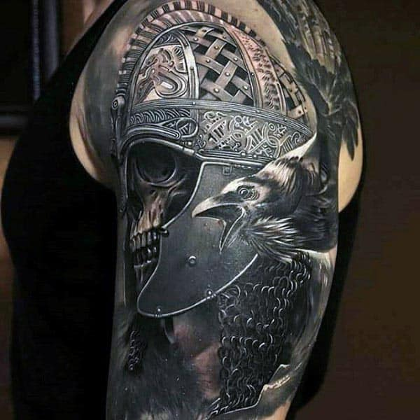 Realsitic Skull With Warrior Helmet Cool Guys 3d Arm Tattoos