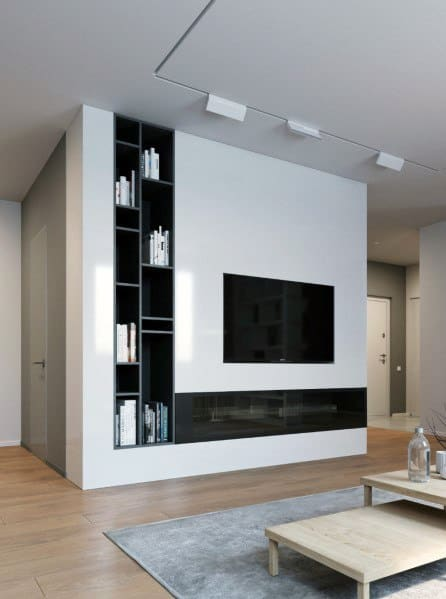 Recessed Book Shelves Black And White Excellent Interior Ideas Television Wall