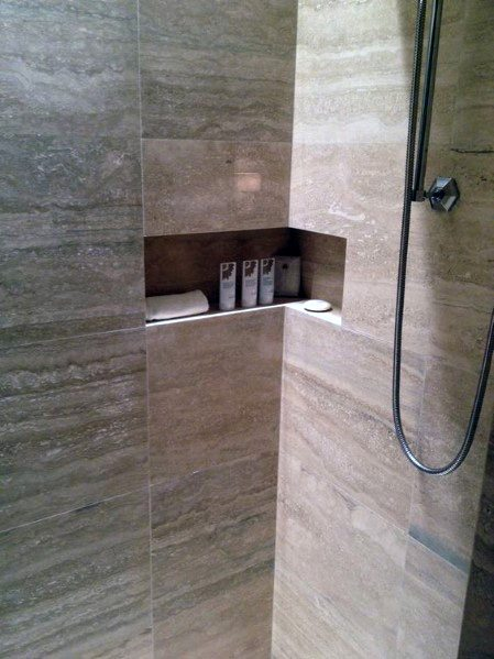 Recessed Niche Shelf Ideas For Corner Shower Bathroom