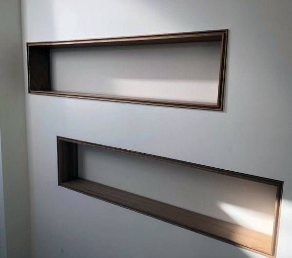 Recessed Wall Niche Design Idea Inspiration With Wood Trim Edge