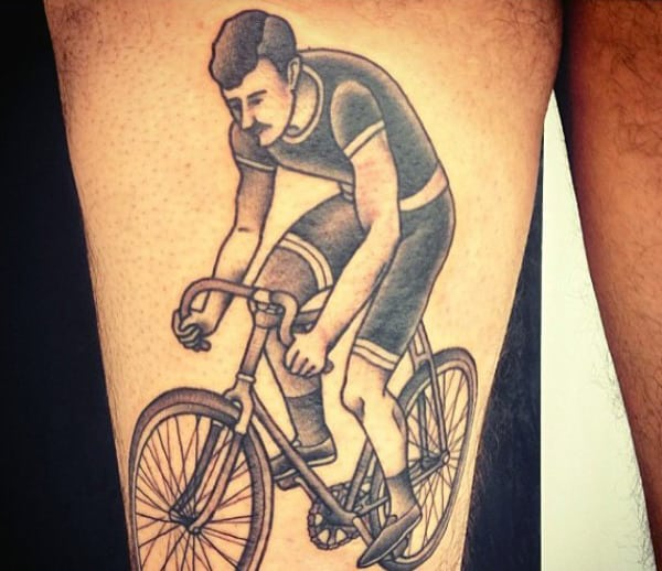 Reckless Bicycle Riding Tattoo On Calves For Men