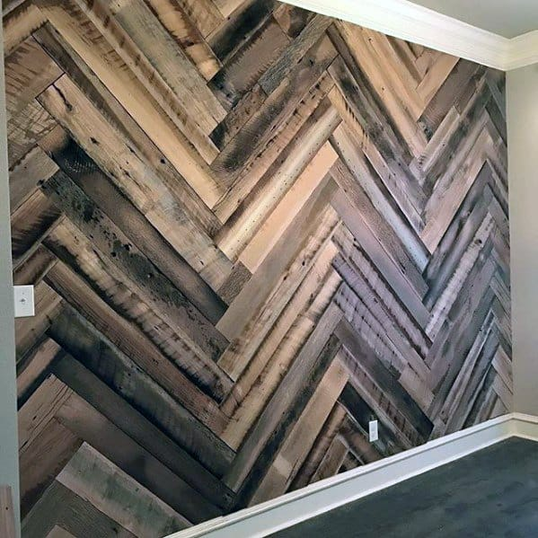Reclaimed Chevron Accent Wood Wall Ideas