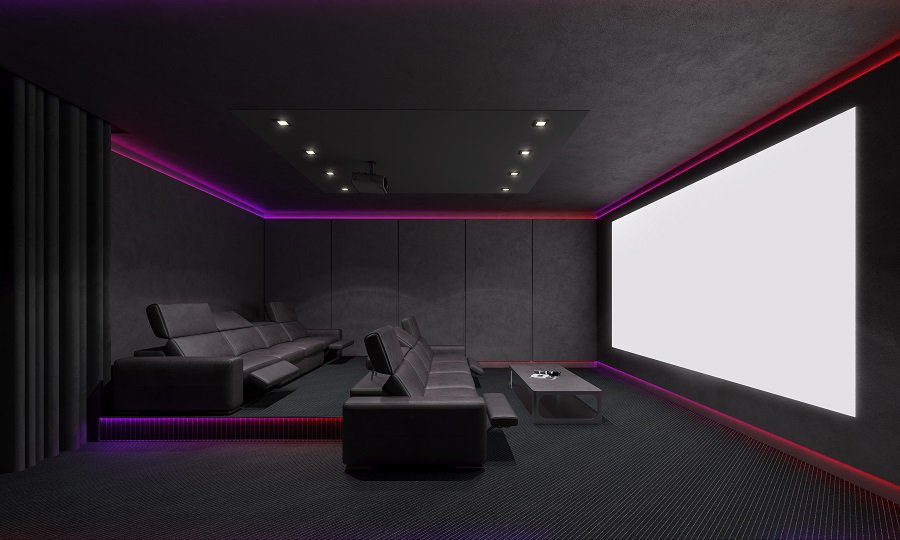 Design Ideas Home Theater Seating Black Couches With Red Pillows