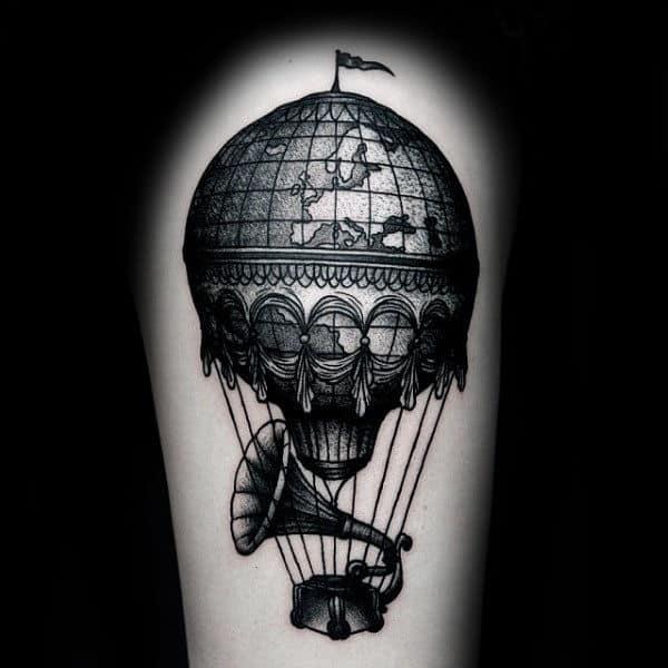 Record Player Vintage Mens Hot Air Balloon Upper Arm Tattoos