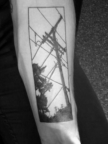 Rectangle Lineman Themed Mens Inner Forearm Tattoo