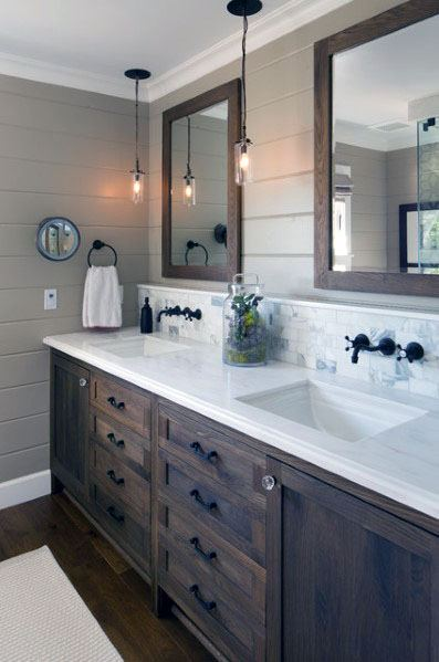 Rectangle Marble Tile Bathroom Backsplash Ideas With Wood Vanity And Mirror Frames