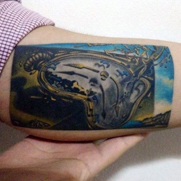 Rectangle Mens Melting Clock Inner Arm Bicep Tattoos