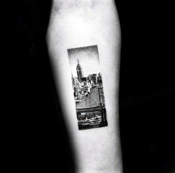 Rectangle Mens Skyline Small Tattoo Designs