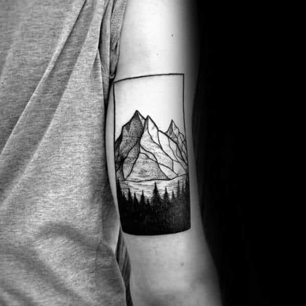Rectangle Mountain Forest Mens Small Tree Outer Arm Tattoo