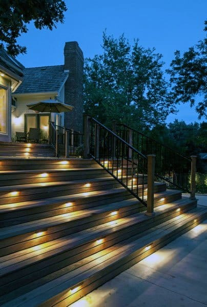 Rectangle Stairs Deck Lighting Ideas