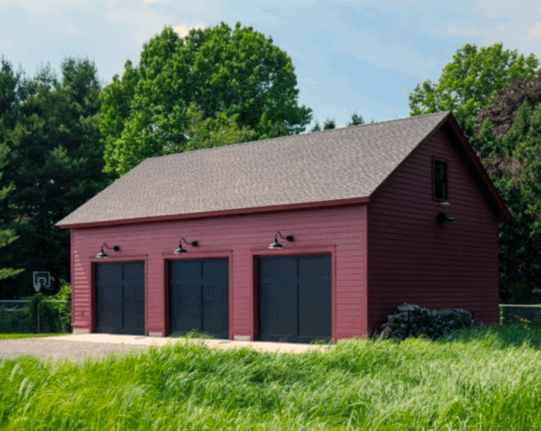 Red 3 Car Detached Garage Ideas