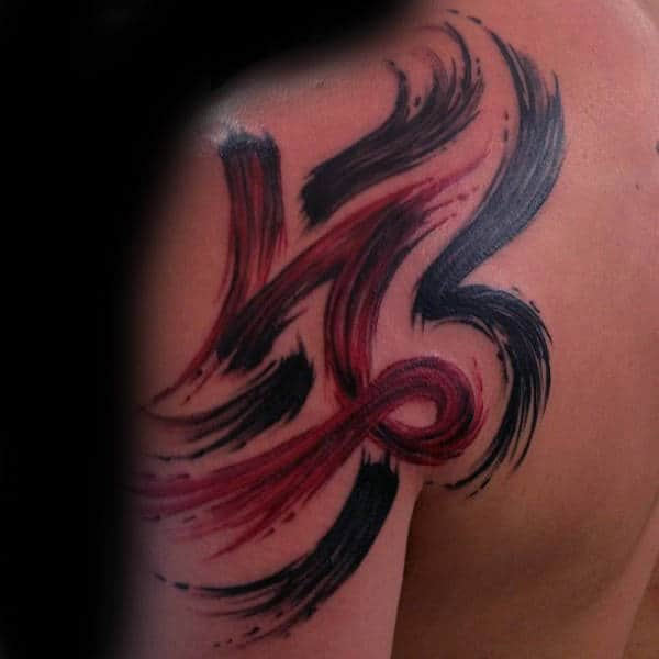 Red And Black Brush Stroke Mens Shoulder And Upper Arm Tattoo Inspiration