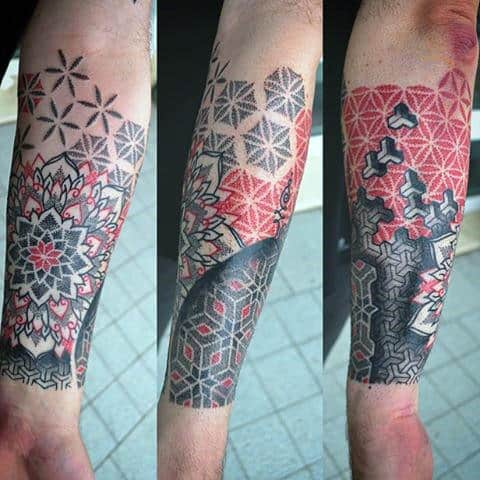 Red And Black Dotted Pattern Tattoo Male Forearms