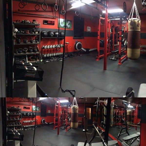 Red And Black Garage Gym Ideas