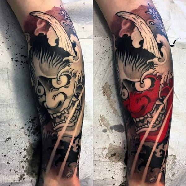 Red And Black Hannya Mask Male Leg Sleeve Tattoo