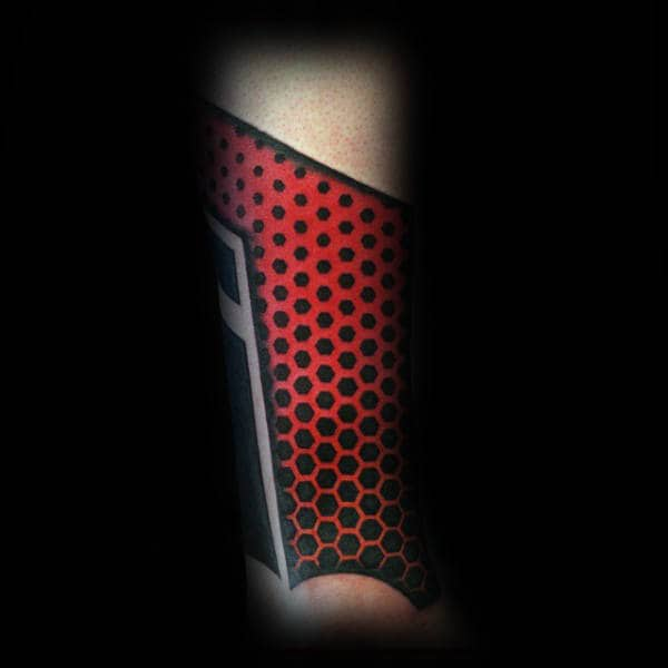Red And Black Ink Factal Mens Sleeve Tattoo
