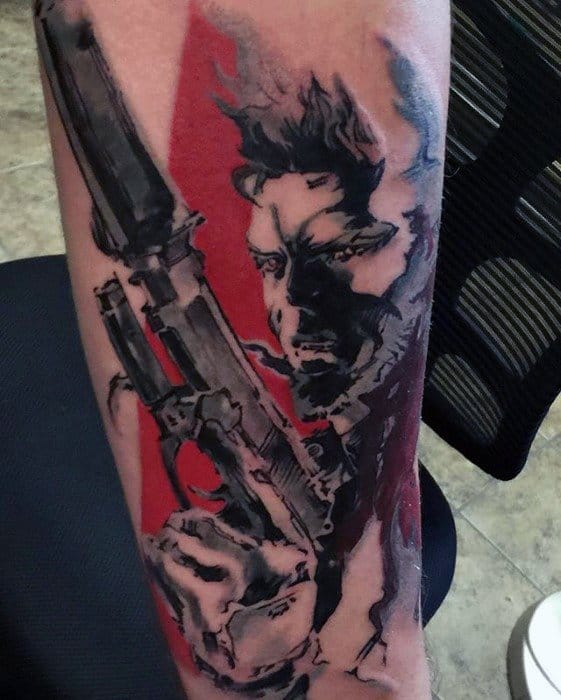 Red And Black Ink Forearm Male Cool Metal Gear Tattoo Ideas