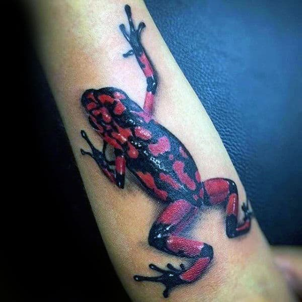 Red And Black Ink Frog Mens Forearm Tattoo