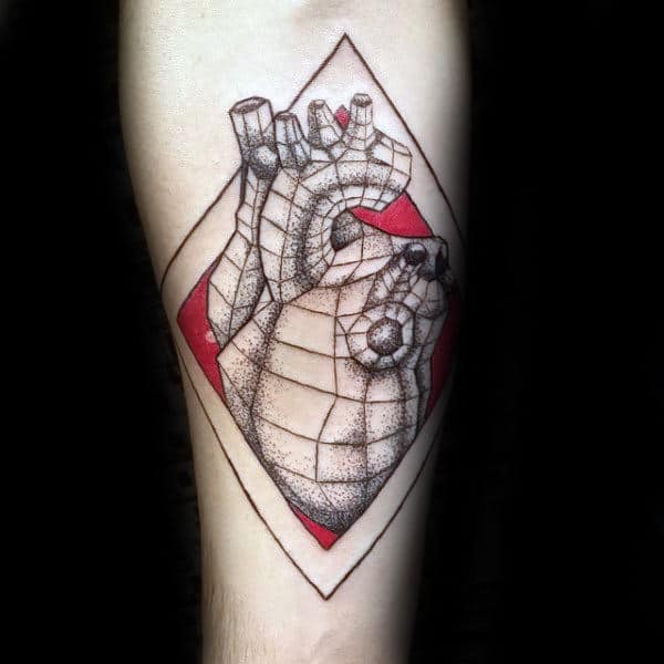 Red And Black Ink Geometric Heart Mens Forearm Tattoo