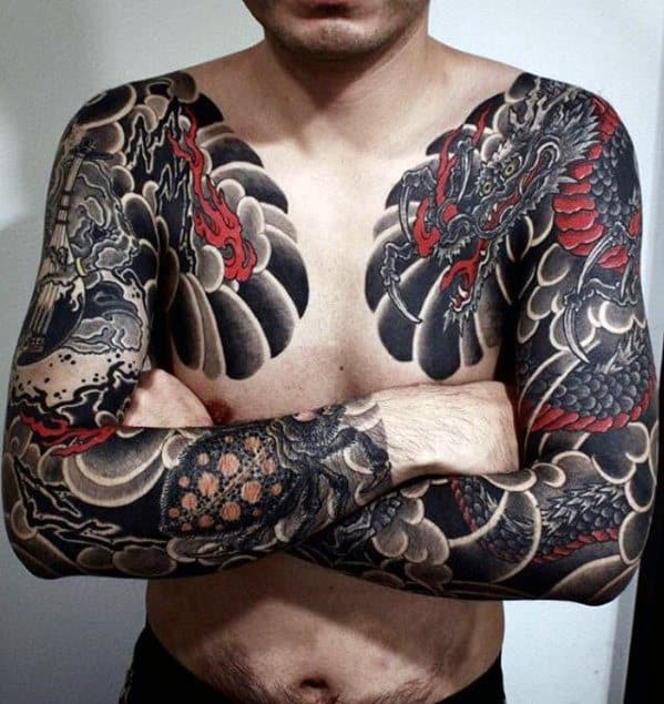 Red And Black Ink Guys Dragon Japanese Chest Tattoos