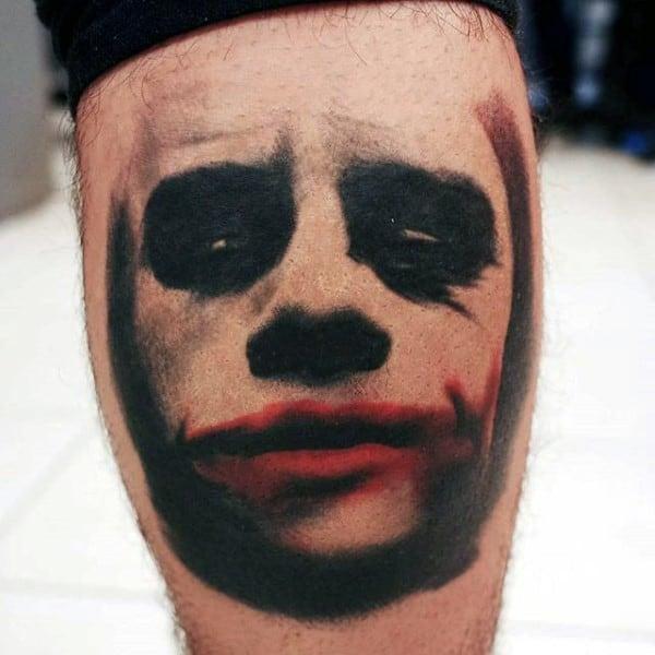 Red And Black Ink Joker Mens Leg Calf Tattoo Ideas