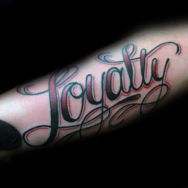 Red And Black Ink Loyalty Tattoos For Men