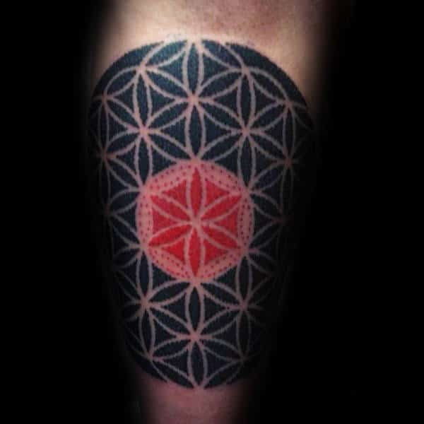 Red And Black Ink Male Flower Of Life Arm Tattoo Designs