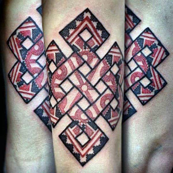 Red And Black Ink Mens Endless Knot Arm Tattoo Designs
