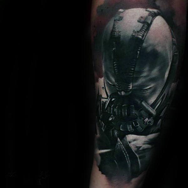 Red And Black Ink Mens Realistic Bane Arm Tattoos
