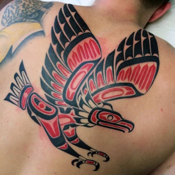 Red And Black Ink Mens Tribal Flying Bird Back Tattoos