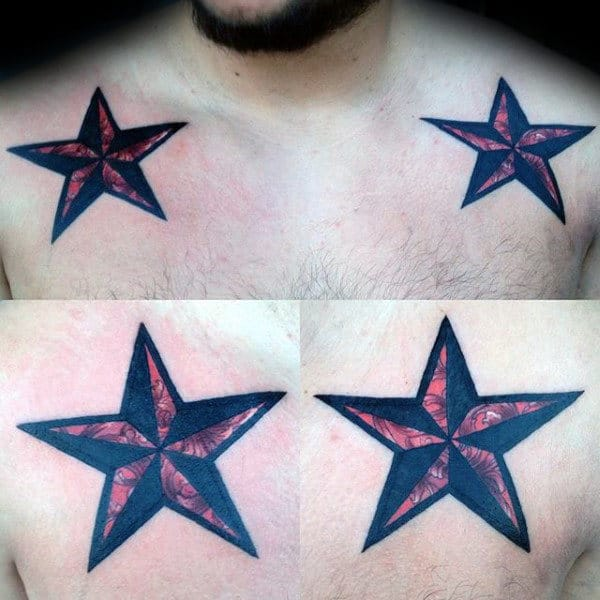 Red And Black Ink Nautical Star Male Tattoo On Upper Chest