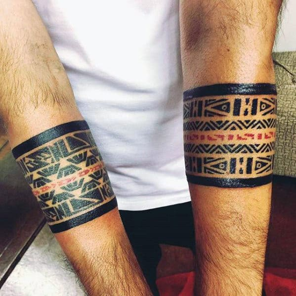 Red And Black Ink Pattern Male Armband Tribal Tattoos