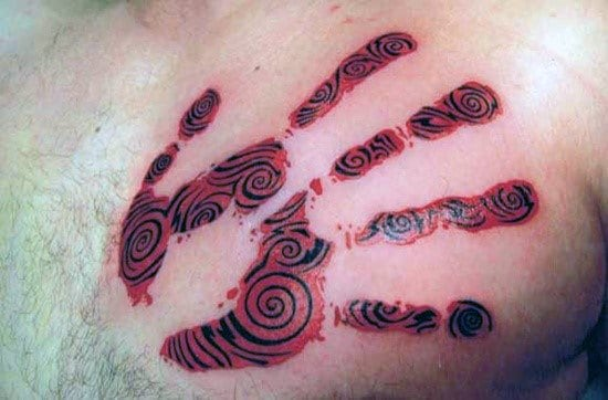 Red And Black Ink Pattern Mens Handprint Chest Tattoos