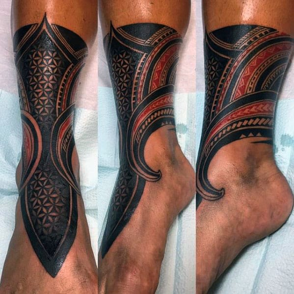 Red And Black Ink Polynesian Male Tribla Leg Tattoo Designs