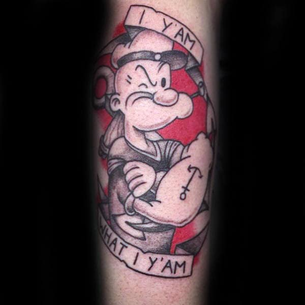 Red And Black Ink Popeye Guys Tattoos