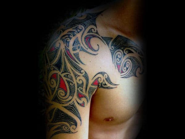 Red And Black Ink Sick Mens Tribal Arm Tattoos