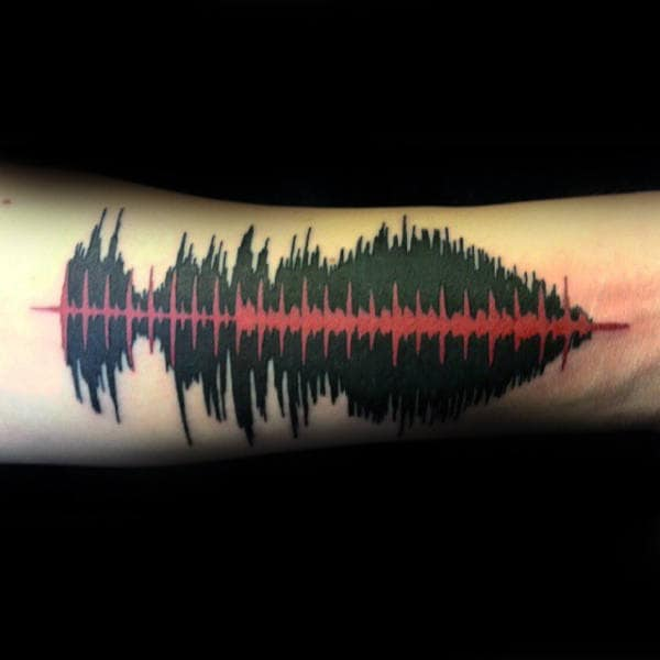 Red And Black Ink Soundwave Tattoo On Gentleman