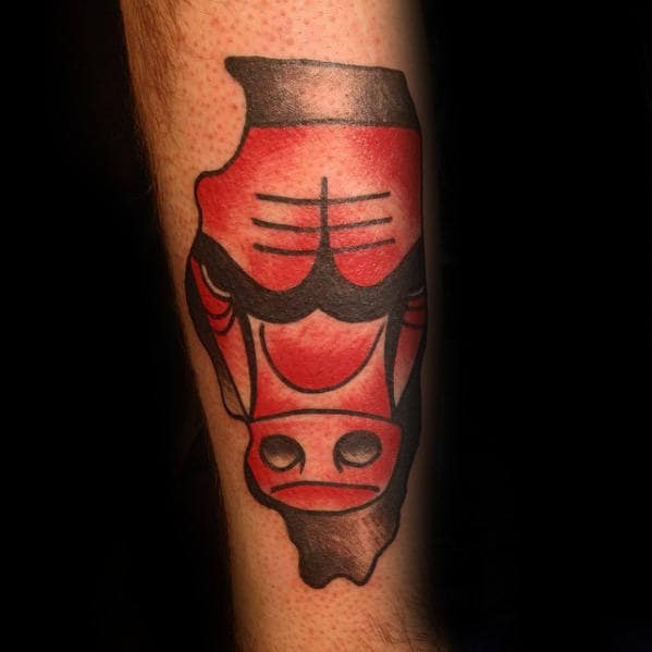 Red And Black Ink Traditional Old School Guys Chicago Bulls Tattoo
