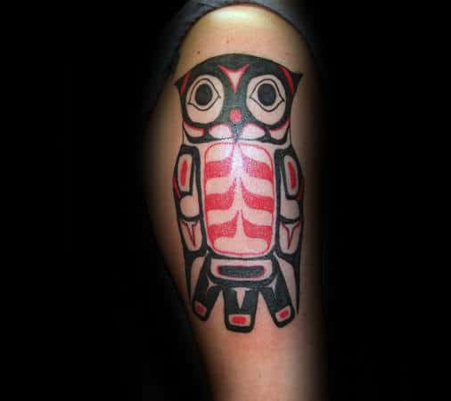 Red And Black Ink Tribal Owl Haida Tattoos For Gentlemen