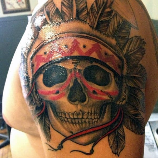 Red And Black Ink Warrior Guys Indian Skull Upper Arm Tattoo