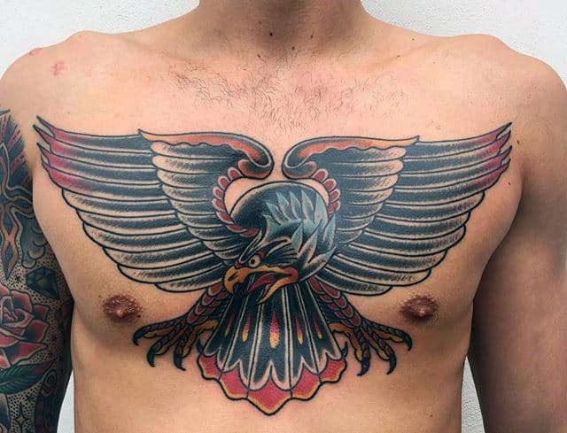 Red And Black Masculine Guys Old School Eagle Chest Tattoos