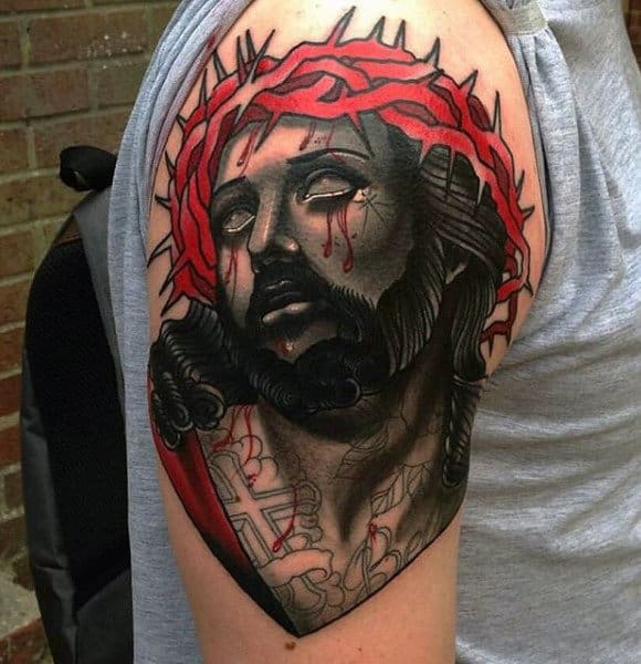 Red And Black Mens Abstact Jesus Upper Arm Tattoos