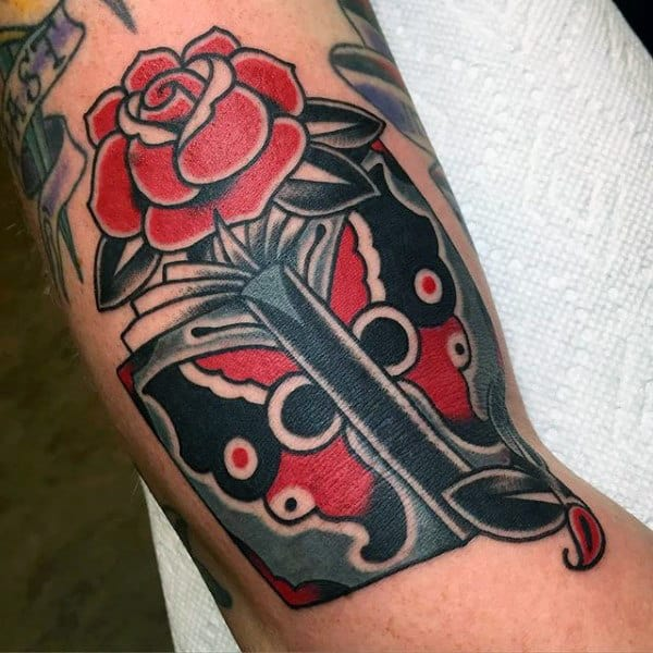 Red And Black Rose And Book Tattoo Male Forearms