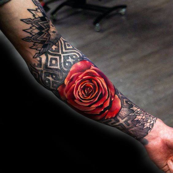 38d200af6 Red And Black Rose Flower Guys Tattoo Designs Forearm Sleeve