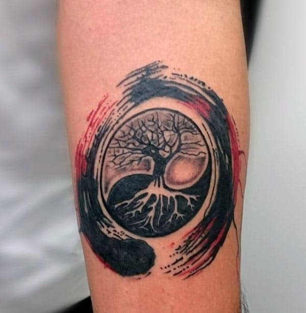 Red And Black Tree Of Life Watercolor Mens Inner Forearm Tattos