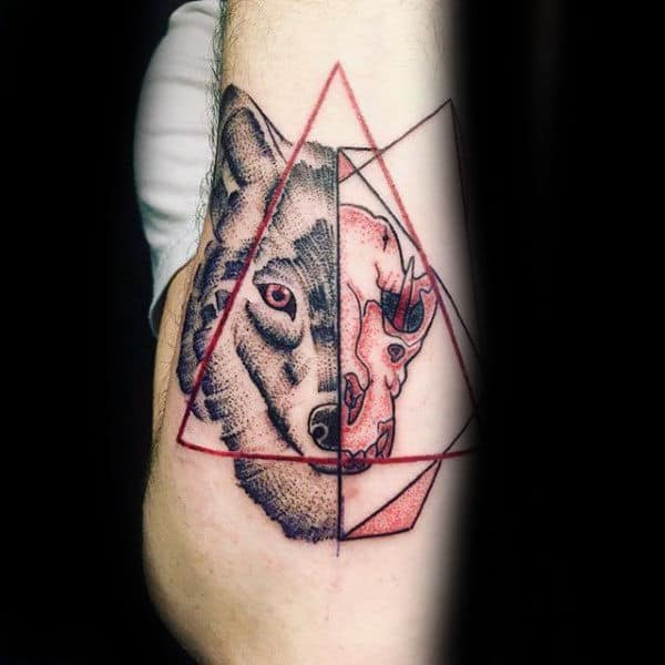 70 wolf skull tattoo designs for men masculine ink ideas for Red wolf tattoo