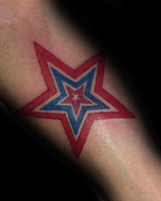 Red And Blue Awesome Mens Simple Arm Star Tattoo Designs