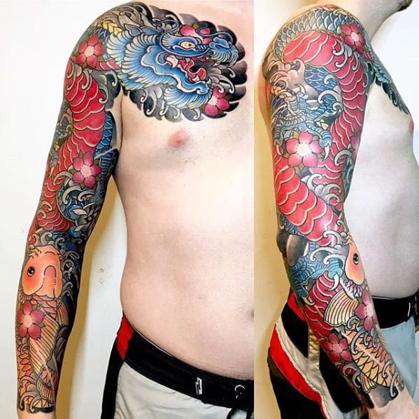 Red And Blue Dragon Mens Japanese Arm Sleeve Tattoos